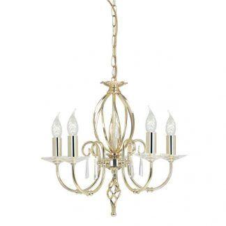 żyrandol glamour złoty z kryształkami i świecznikami