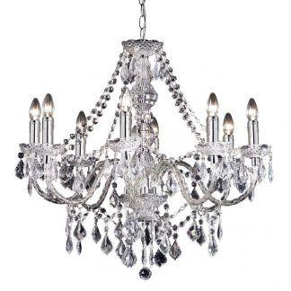 żyrandol kryształowy szklany glamour ze świecznikami