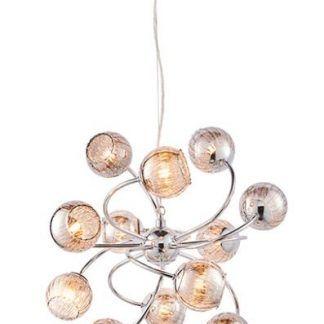 żyrandol na 12 żarówek - szklane kule kryształy