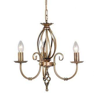żyrandol na 3 świeczniki - złoty klasyczny do małego salonu
