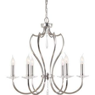 żyrandol srebrny świecznikowy z kryształowymi detalami