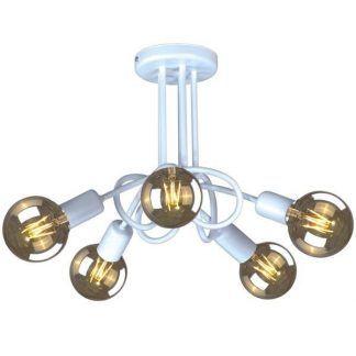 żyrandol sufitowy z 5 dekoracyjnymi żarówkami - fajny design