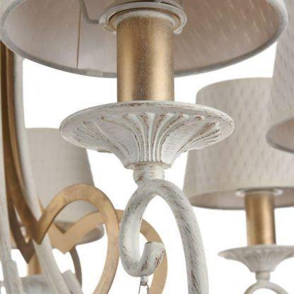 żyrandol świecznikowy z abażurami do salonu