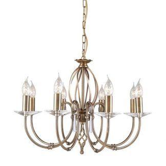 żyrandol świecznikowy z kryształami - złoty do salonu