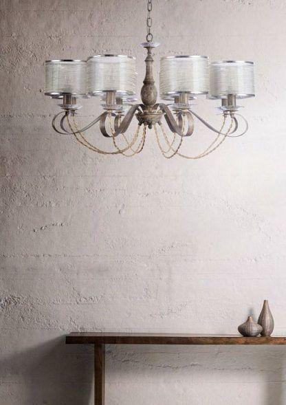 żyrandol w stylu vintage drewniana podstawa