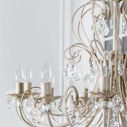 żyrandol z kryształami szampańskie złoto