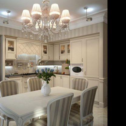 żyrandol z kryształkami kuchnia z jadalnią glamour