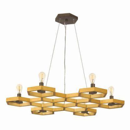 Żyrandol złoty kształt plastra miodu do salonu