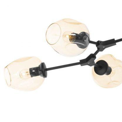 czarna lampa molekularna ze szklanymi kloszami