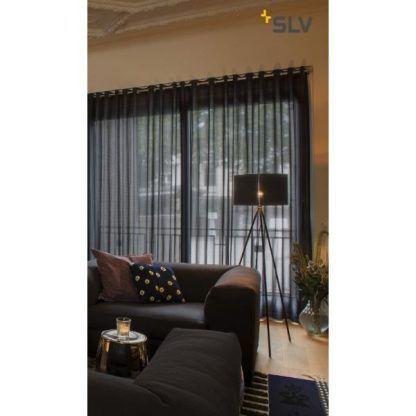 nowoczesna lampa stojąca do salonu ciemnego - żarówka