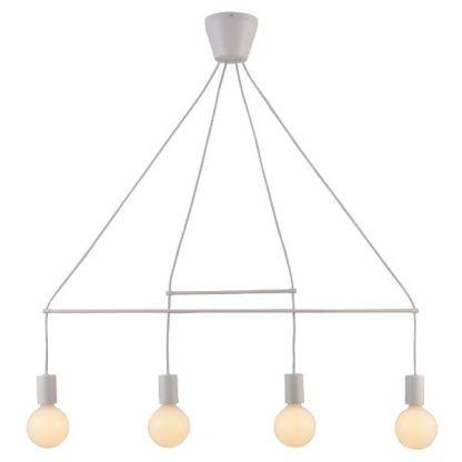 biała lampa wisząca metalowe pręty geometryczna