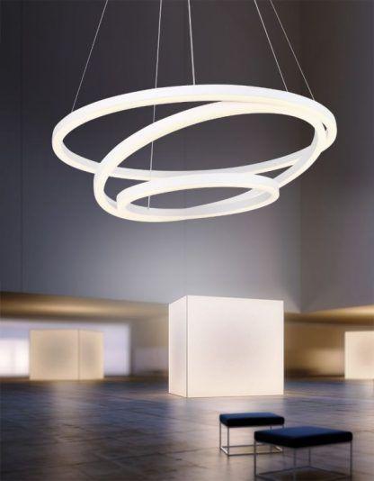 biała lampa wisząca panele led ring
