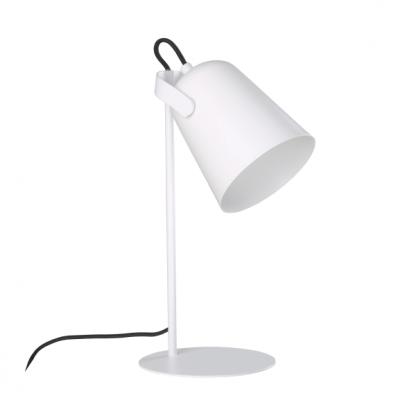 białe lampki biurkowe - stołowe z kloszem do sypialni