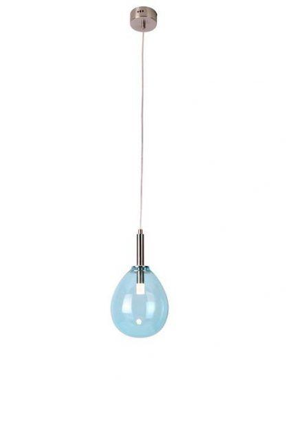 błękitna lampa wisząca szklany klosz