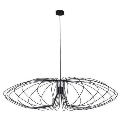 czarna druciana lampa wisząca do salonu szeroka