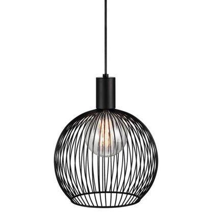 czarna lampa druciana koło skandynawska