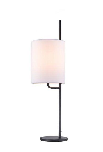 czarna lampa stołowa z białym abażurem nowoczesna