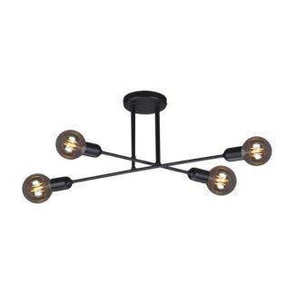 czarna lampa sufitowa metalowe pręty