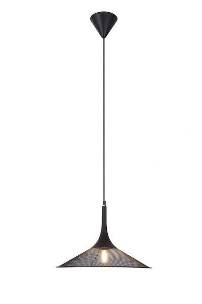 czarna lampa wisząca z metalowej siatki