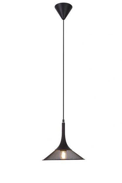 czarna lampa wisząca z metalowej siatki nowoczesna