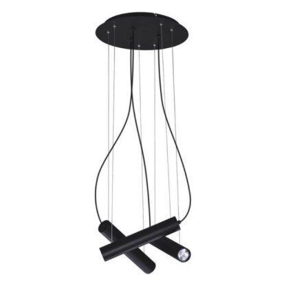 czarna lampa wisząca z wąskimi tubami