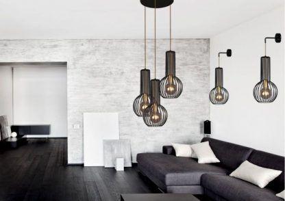czarno-złote lampy do szarego salonu aranżacja