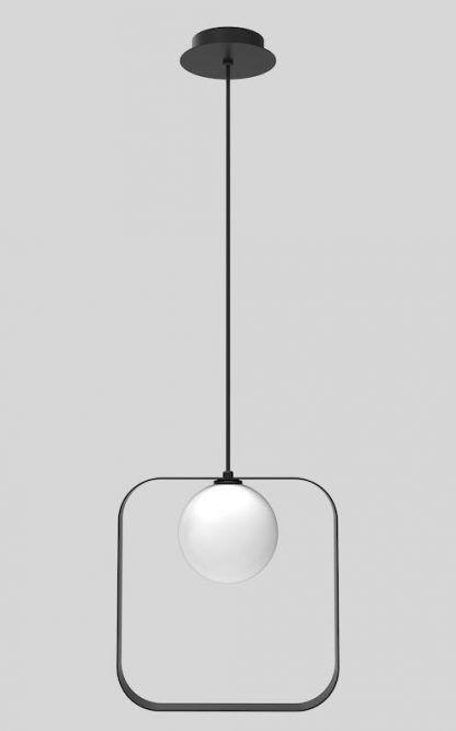 czarny kwadrat z kulą w środku lampa wisząca