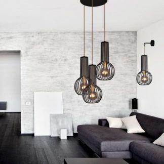 druciane lampy do szarego salonu aranżacja