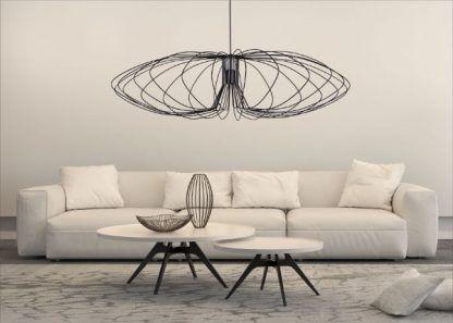 duża druciana lampa wisząca do salonu