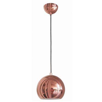 duża lampa miedziana wisząca kula typu ball