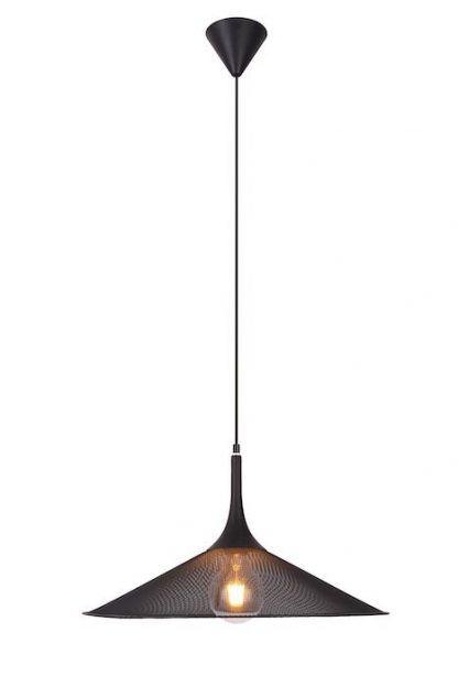 industrialna czarna lampa wisząca siatkowy klosz