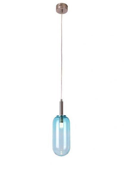 jasnoniebieska lampa wisząca ze szklanym kloszem