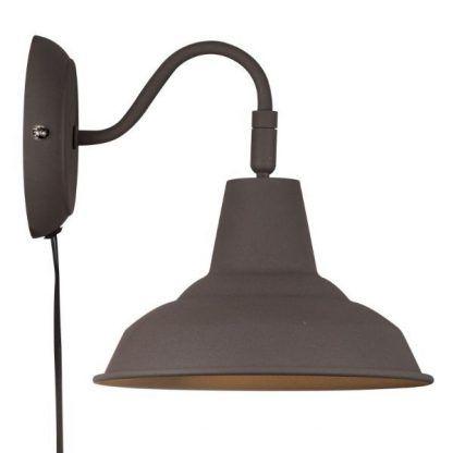kinkiet loft - brązowy z włącznikiem do gniazdka