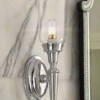 kinkiet na marmurową ścianę - srebrny i szklany klosz