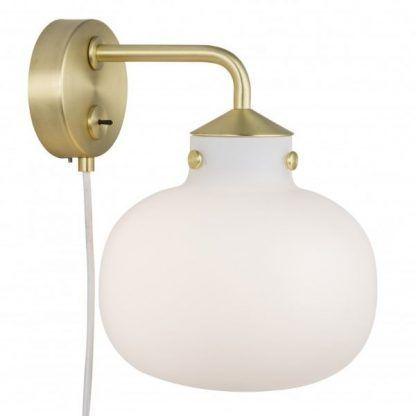 złoty kinkiet szklana kula z włącznikiem do gniazdka