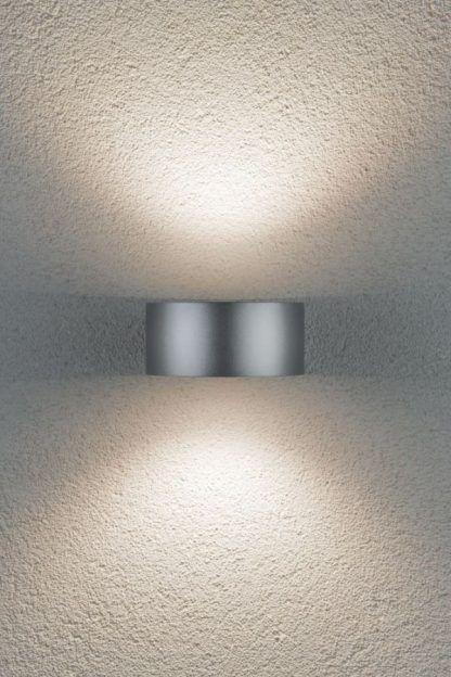 srebrny kinkiet elewacyjny nowoczesny
