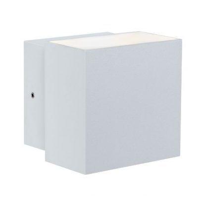 kwadratowy kinkiet elewacyjny biały mat