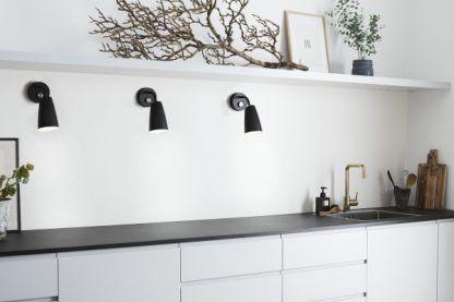kinkiety na ścianę do kuchni - czarne nowoczesne - aranżacje