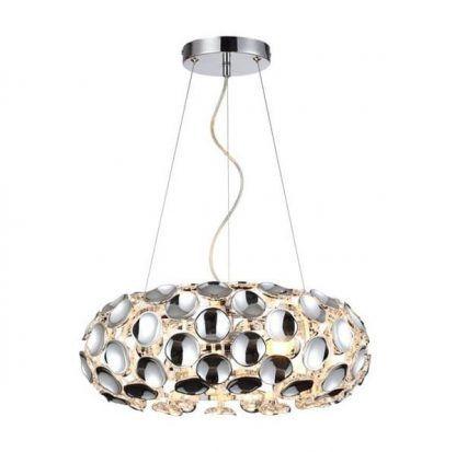 kryształowa lampa wisząca na linkach - okrągła