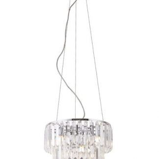 kryształowa lampa wisząca srebrna nad stół