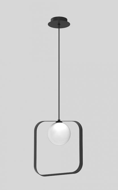 kwadratowa czarna lampa wisząca szklana kula w środku