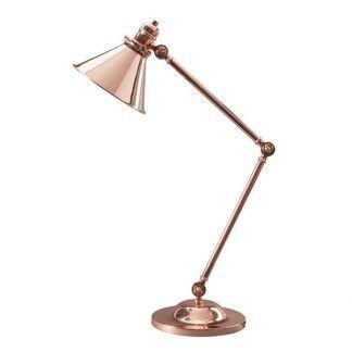 lampa biurkowa miedziana - regulowana podstawa
