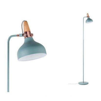 lampa podłogowa turkusowa miedziana