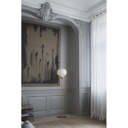 aranżacja lampy stojącej w salonie - nowoczesna