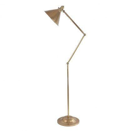 lampa stojąca do salonu - mosiądz - regulowana nowoczesna