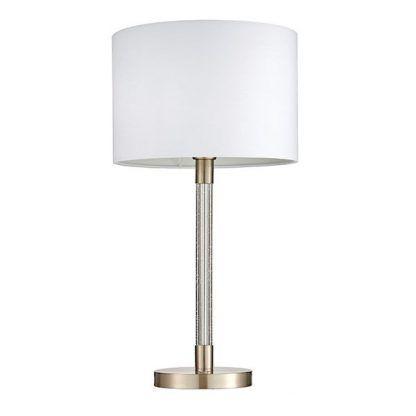 lampa stojąca stołowa - biały abażur - do sypialni