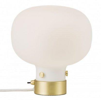 biała kula szklana złota lampa stołowa