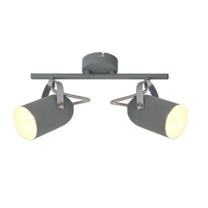 lampa sufitowa listwa dwa reflektory szara