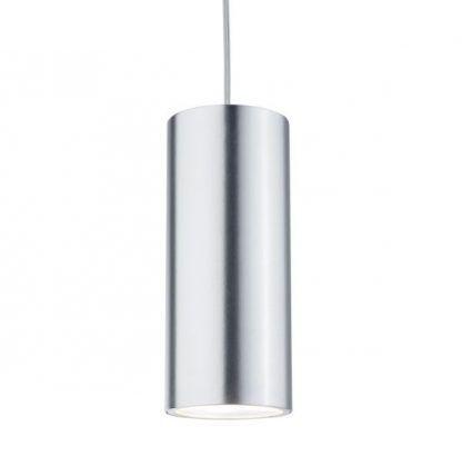 srebrna lampa wisząca tuba nowoczesna