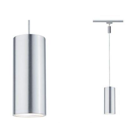 srebrna lampa szynowa tuba wisząca